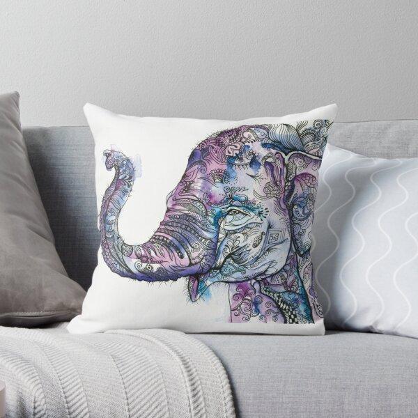 Purple Baby Elephant Throw Pillow