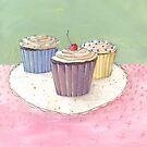 Retro trio of cupcakes on a plate by Alicia Rogerson