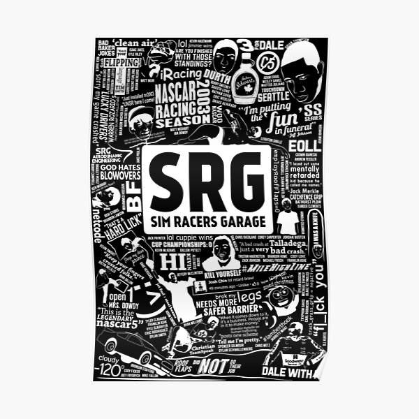 Sim Racers Garage Collage - White w/Black Products Poster