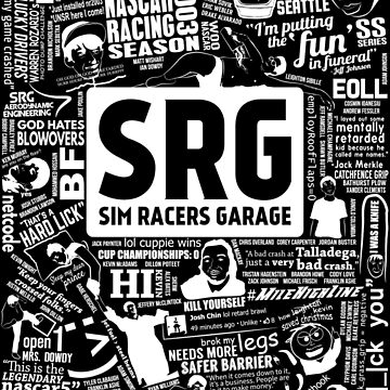 Sim Racers Garage Collage - White w/Black Products by FMBDesigns