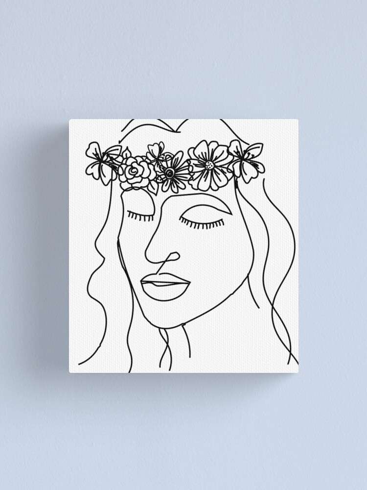 Black And White Flower Crown Face Canvas Print By Bellep15 Redbubble