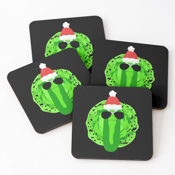 Pickle Rick Christmas Coasters (Set of 4)
