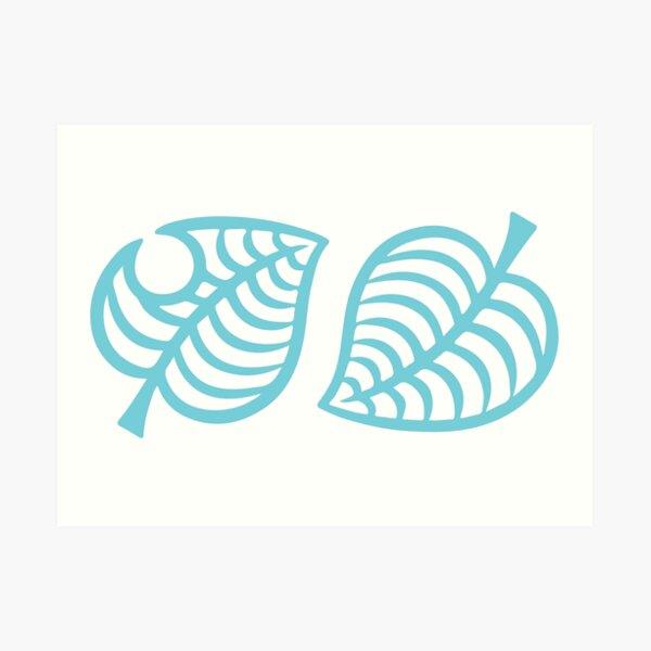 Animal Crossing Leaf Logo Blue Glitter Moon Art Print By
