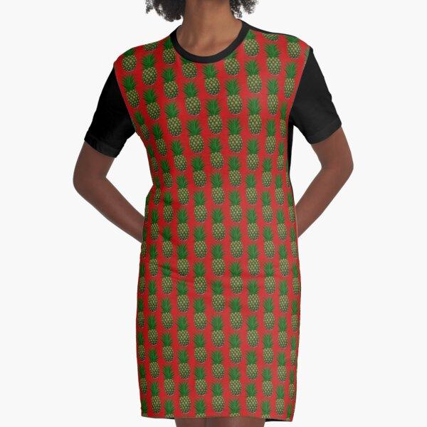 Red Pineapple Socks Graphic T-Shirt Dress