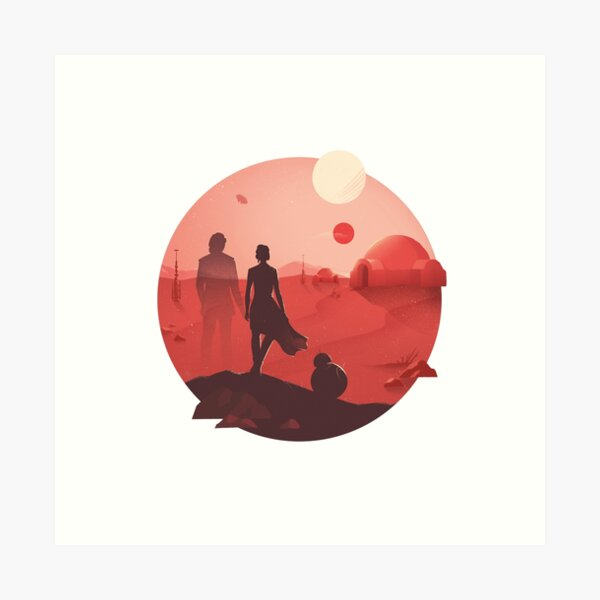 SW Tatooine Sunset Art Print