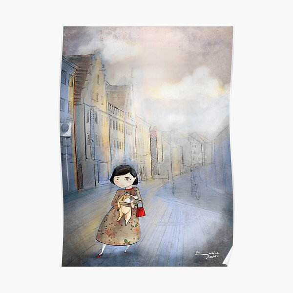 Little Girl with Puppy Poster