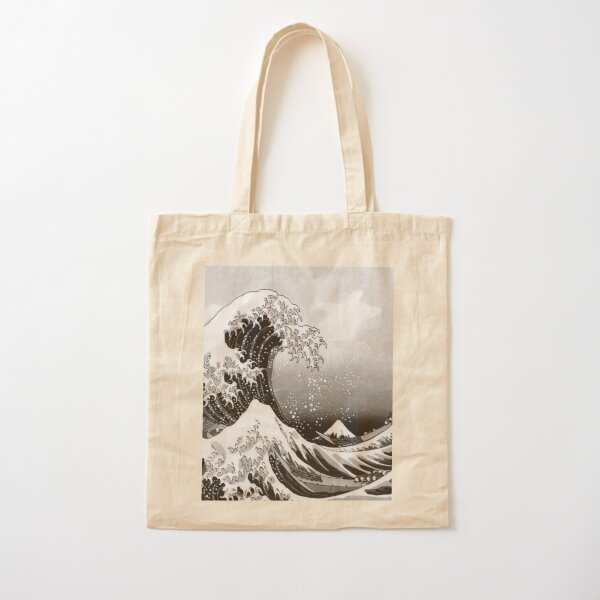 Great Wave: Monochrome Cotton Tote Bag