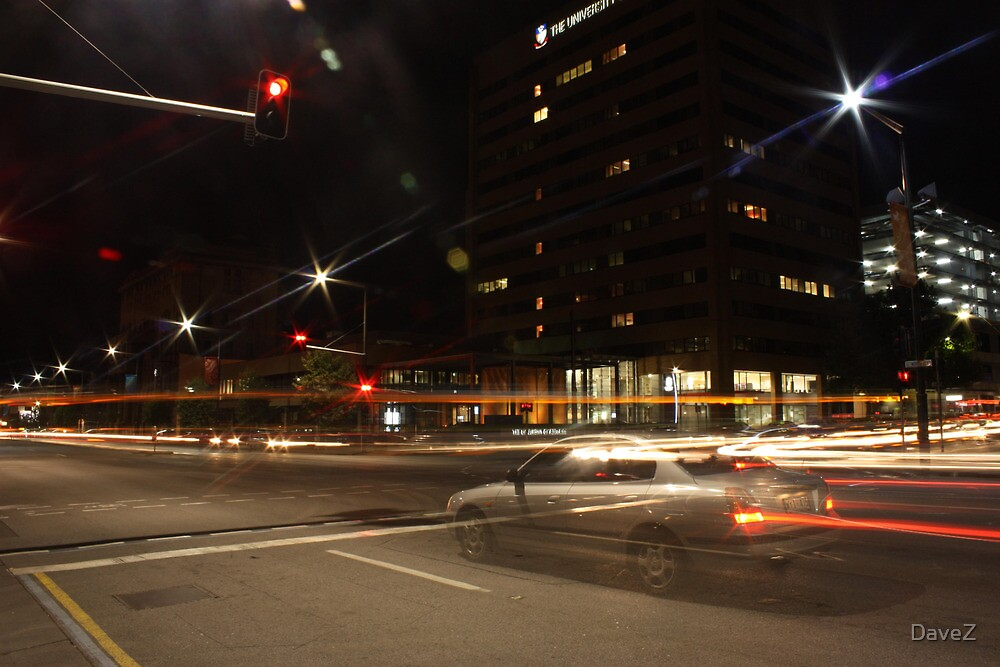 Light trails, city intersection,Adelaide by DaveZ