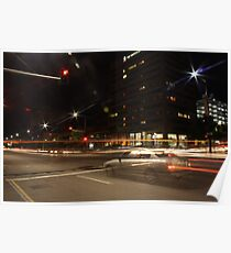 Light trails, city intersection,Adelaide Poster