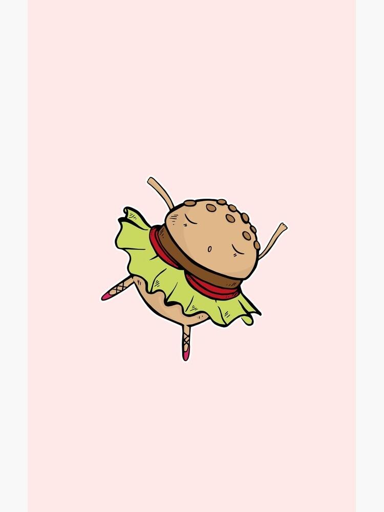 Funny Dancing Burger Ballerina by piratart