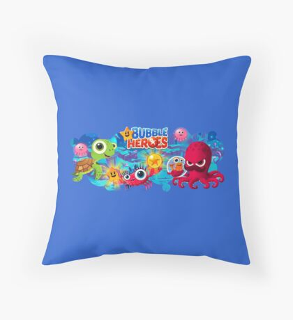 """Bubble Heroes """"Group Photo"""" Throw Pillow"""