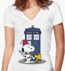 Snoopy Who. Women's Fitted V-Neck T-Shirt