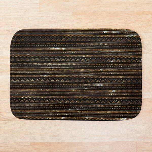 Aztec Black Tinsel Gold Bath Mat