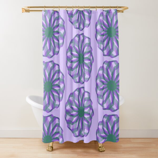 Spirograph with green and violet Shower Curtain