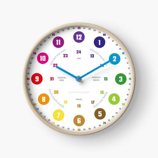 Echte-Lernuhren.de | EasyRead Kinderuhr Kinderzimmeruhr 24 Std Format ©hatgirlDESIGN (Kreise, Regenbogen, mit Text) Schulbedarf Klassenzimmer  Uhr