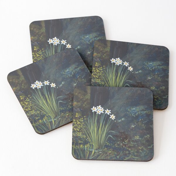 Stars in Shadow Shimmering: Daffodil Coasters (Set of 4)