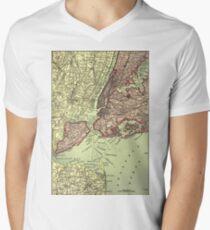 Camiseta para hombre de cuello en v Vintage NYC and Surrounding Areas Map (1879)