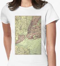 Camiseta entallada para mujer Vintage NYC and Surrounding Areas Map (1879)