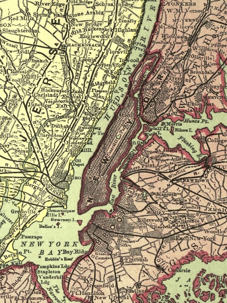 Vintage NYC and Surrounding Areas Map (1879) de BravuraMedia