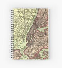 Cuaderno de espiral Vintage NYC and Surrounding Areas Map (1879)