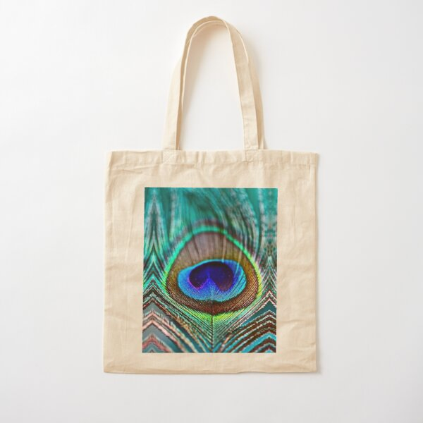 Peacock Feather Cotton Tote Bag