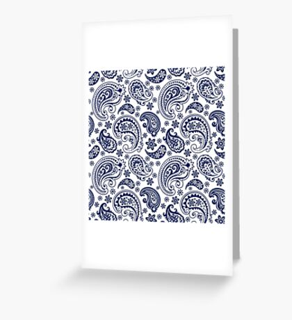 Blue And White Vintage Paisley Design Greeting Card