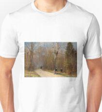 Walking down an Autumn road Unisex T-Shirt