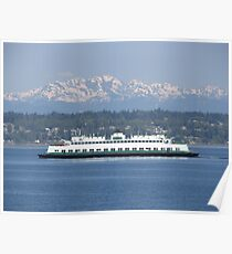 Washington State Ferry Klahowya and the Olympic Mountains Poster