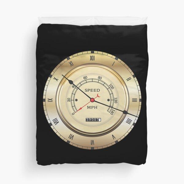 Speedometer. Vintage, Clock, Dial,  Roman Numerals. Vehicle. Duvet Cover