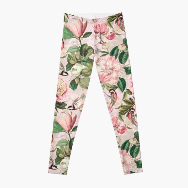 UtART - Vintage Peonies Spring Flower Pattern Pink Sepia Leggings