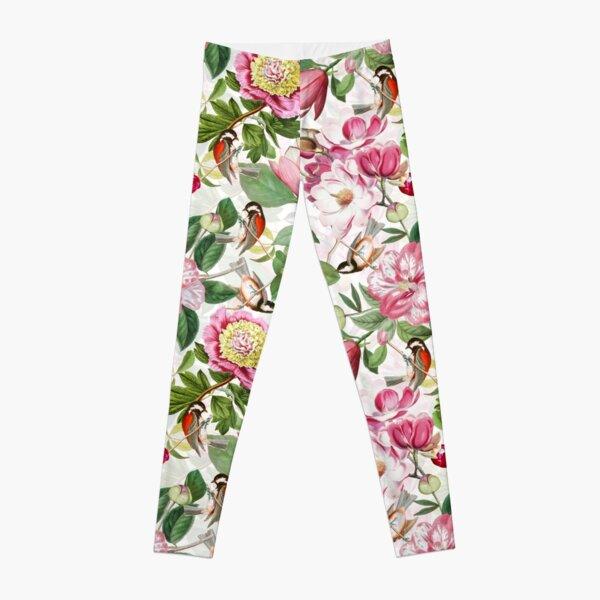 UtART - Vintage Peonies Spring Flower Pattern White Leggings