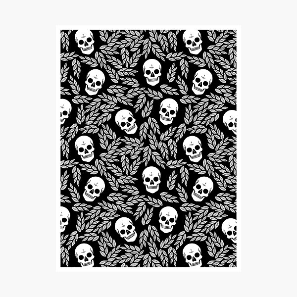 Skull Floral • Black And White • Pattern  Photographic Print