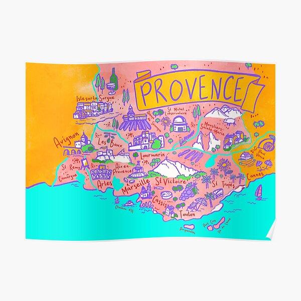 Carte de la Provence Poster