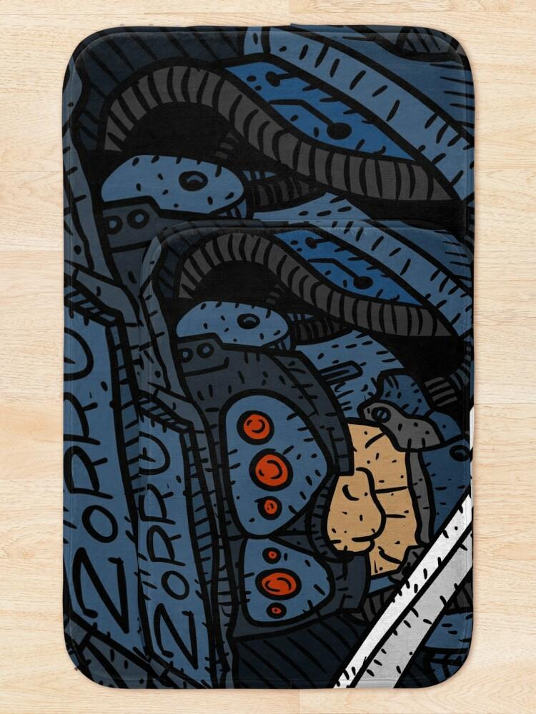 Alternate view of zorro, masked vigilante from the future, dark sci fi cyberpunk art. Bath Mat