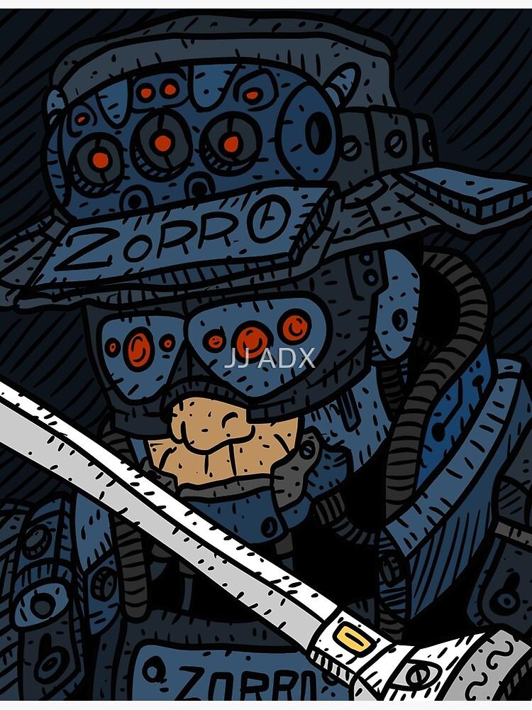 zorro, masked vigilante from the future, dark sci fi cyberpunk art. by jjartanddrawing