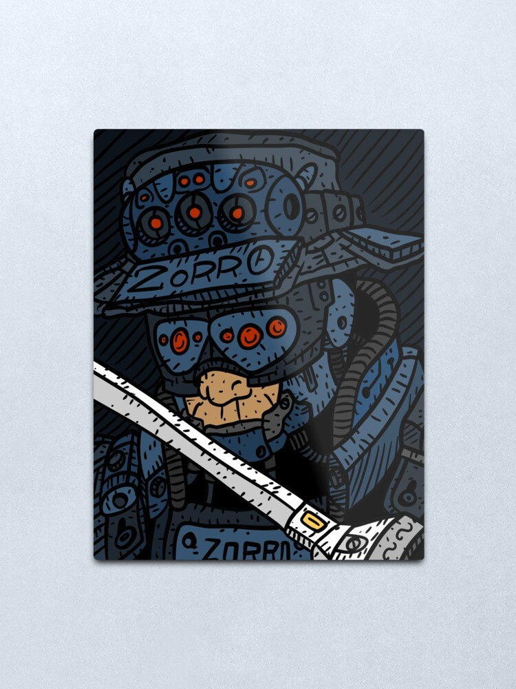 Alternate view of zorro, masked vigilante from the future, dark sci fi cyberpunk art. Metal Print