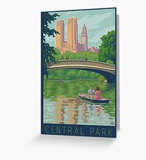 Vintage Central Park: The Lake and Bow Bridge Greeting Card