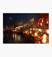 Arati to goddess Ganga at Haridwar Photographic Print