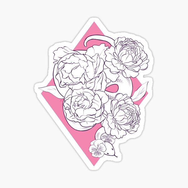 Snakes and Peonies Sticker