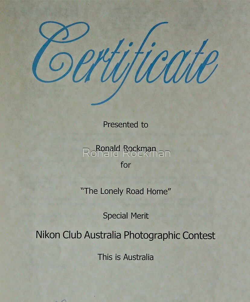 Another Photographic Award by Ronald Rockman