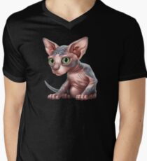 Cat-a-clysm: Sphynx kitten - Classic Men's V-Neck T-Shirt