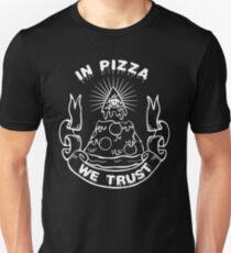 In Pizza We Trust - Black and White Version Slim Fit T-Shirt