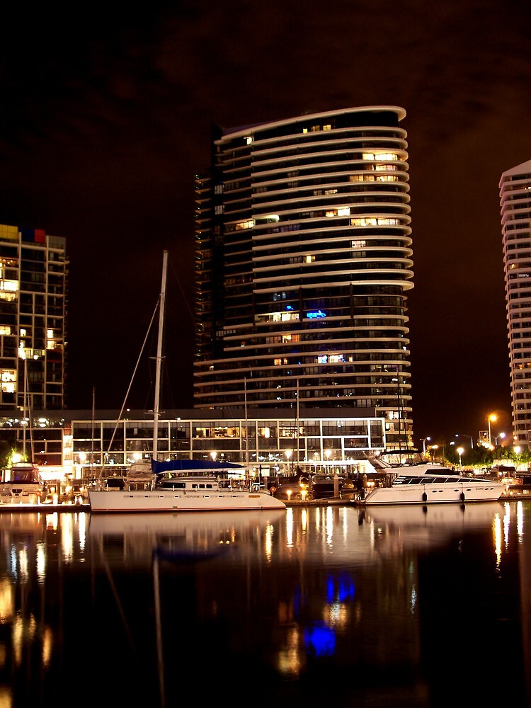 Melbourne Docklands at Night 6538 by Kayla Halleur