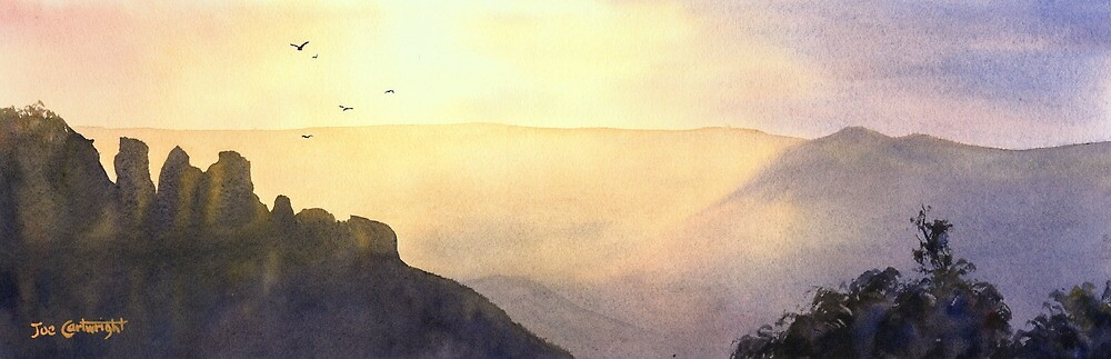 Sunrise over The Three Sisters, Blue Mountains, NSW by Joe Cartwright