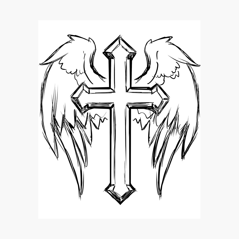 Black Christian Cross Angel Wings Poster By S1mplydes1gn Redbubble