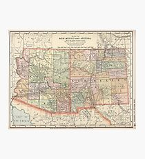 Vintage Map Of Arizona And New Mexico 1891 Photographic Print