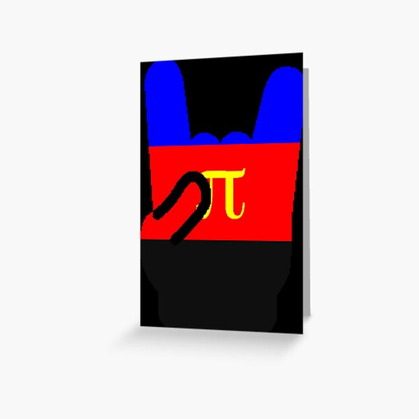 Heavy Metal Symbol in Polyamory Pride Flag Colors Greeting Card