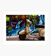 STREET GRAFFITI WALL AND RETRO VINTAGE VESPA SCOOTER MOTORCYCLE Art Print