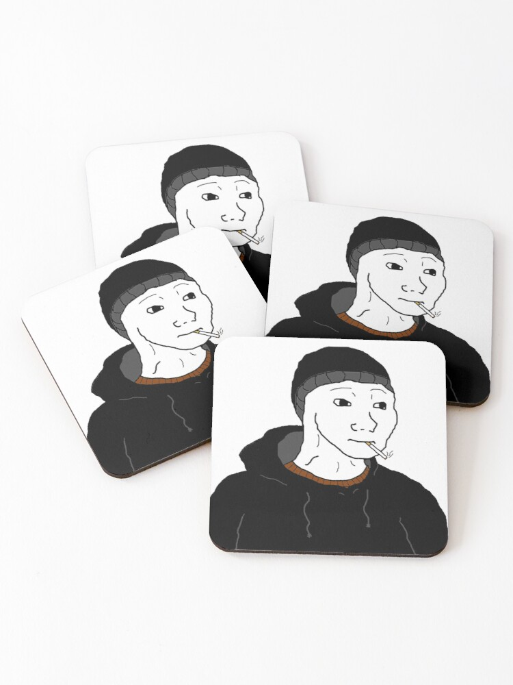 The Doomer Wojak Meme Coasters Set Of 4 By Strawberryvery
