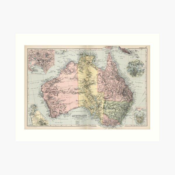 Vintage Map of Australia (1891) Art Print